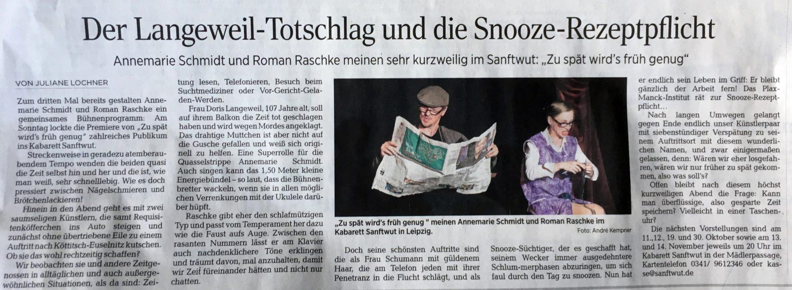 """""""Zu spät wird´s früh genug!"""""""